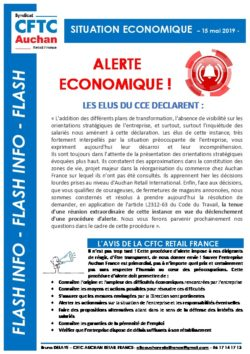 DROIT D'ALERTE ECONOMIQUE AUCHAN RETAIL FRANCE MAI 2019
