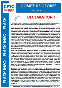Déclaration CFTC Comité de Groupe 13 juin 2019