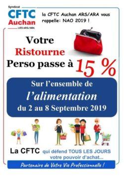 NAO : VOTRE RISTOURNE ALIMENTATION PASSE A 15% EN SEPTEMBRE 2019