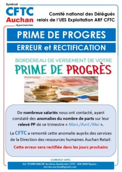 PRIME DE PROGRES ERREUR ET RECTIFICATION
