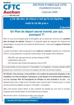 PLAN DE DEPART AUCHAN SERVICES D'APPUIS CSE 14 JANVIER 2020