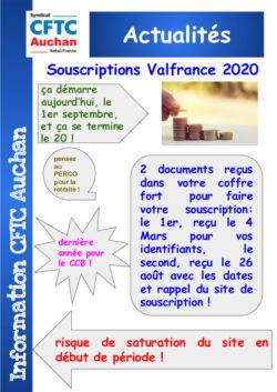 Souscriptions Valfrance 2020